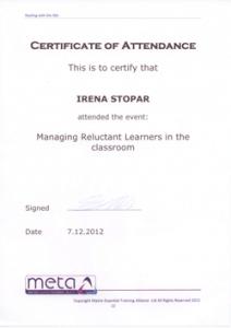 Irena Stopar - Certifikat za delo s težavnimi učenci