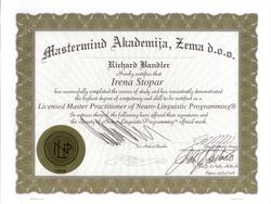 Irena Stopar - Licencirani in certificirani Mojster Praktik NLP
