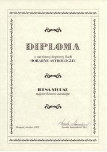 Irena Stopar - diploma horarne astrologije