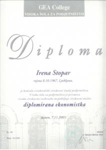 Irena Stopar, diplomirana ekonomistka